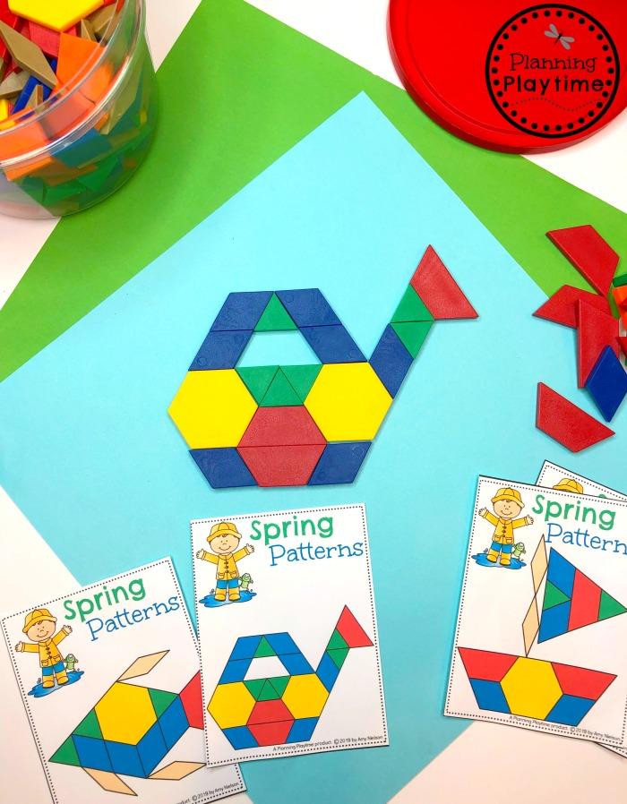 Spring Preschool Theme - Pattern Block Pictures