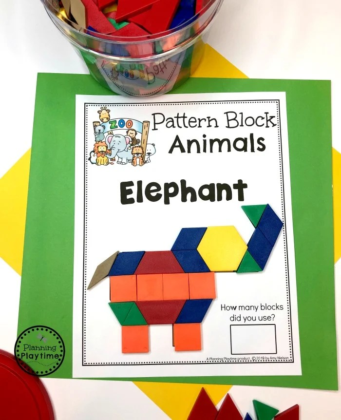 Zoo Theme for Preschool - Pattern Block Pictures #zootheme #preschool #preschoolworksheets #planningplaytime
