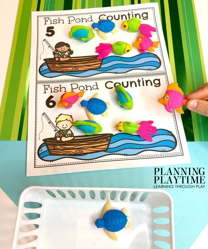 Counting Activities for Preschool Math - Pond Theme #preschool #preschoolworksheets #pondtheme #planningplaytime