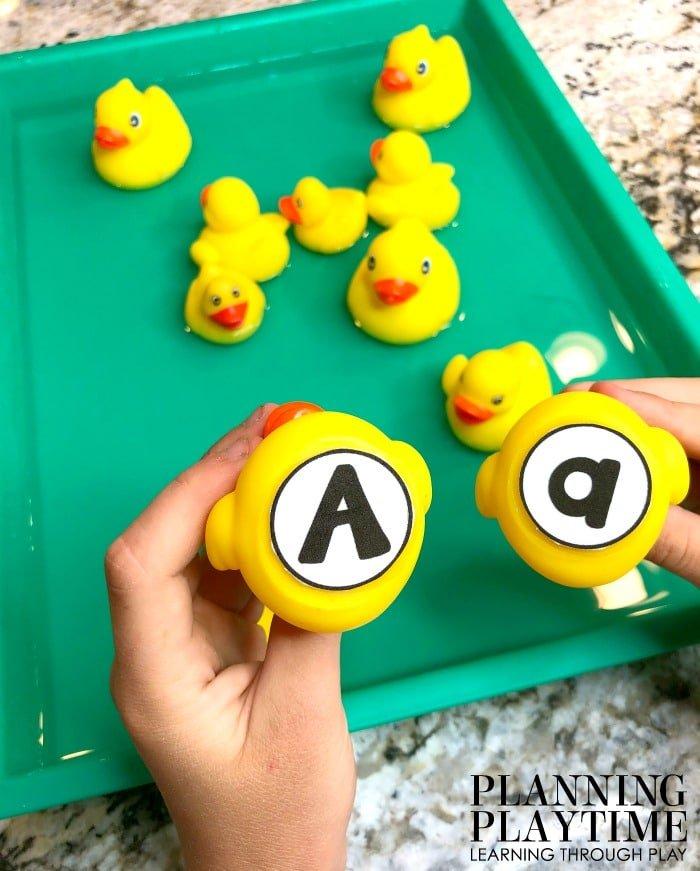 Letter Matching Activity for Preschool - Pond Theme Sensory bin. #preschool #preschoolworksheets #pondtheme #planningplaytime #alphabetactivities