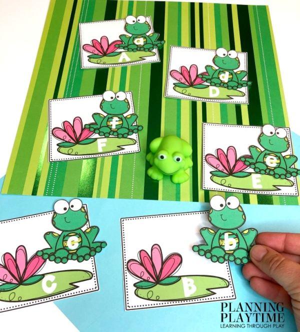 Preschool Activities Alphabet - Pond theme Letter matching activity #preschool #preschoolworksheets #pondtheme #planningplaytime #alphabetactivities