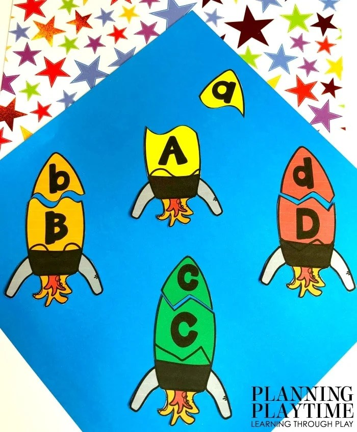Preschool Activities Letters and Letter Matching Game. Space theme #spacetheme #preschoolworksheets #preschoolactivities #preschoolprintables #planningplaytime #lettermatching