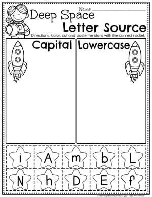 Preschool Letter Worksheets - Preschool Space Theme - Letter Sorting Worksheets Capital and Lowercase letters #spacetheme #preschoolworksheets #preschoolactivities #preschoolprintables #planningplaytime #sortingworksheets