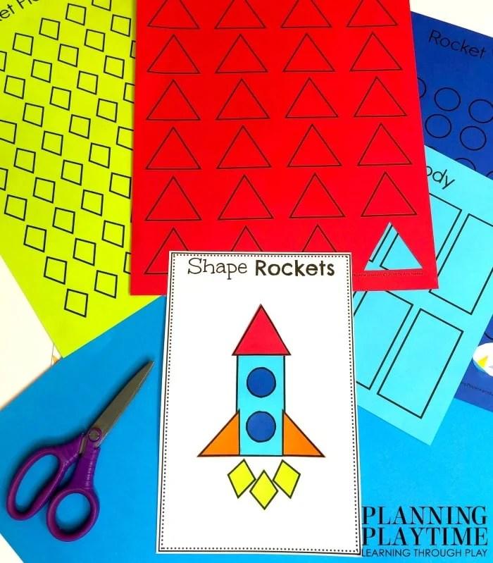 Shapes Activitie for Preschool - Build a Shapes Rocket Space theme Craft #spacetheme #preschoolworksheets #preschoolactivities #preschoolprintables #planningplaytime #preschoolshapes