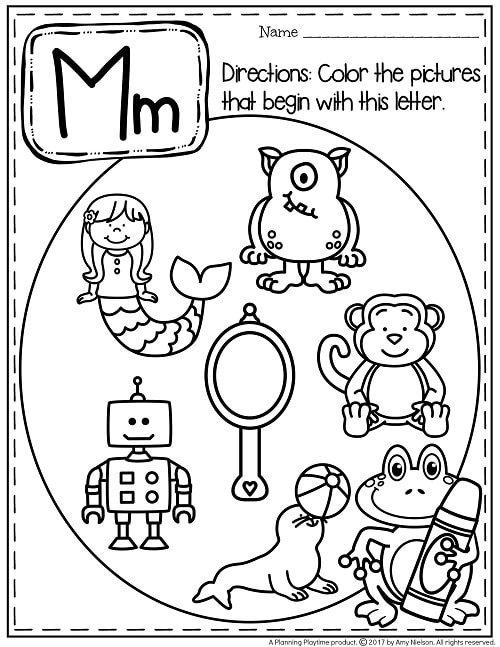 Beginning Sounds Worksheets - Preschool Alphabet Activities #alphabetworksheets #preschoolworksheets #letterworksheets #beginningsounds #planningplaytime