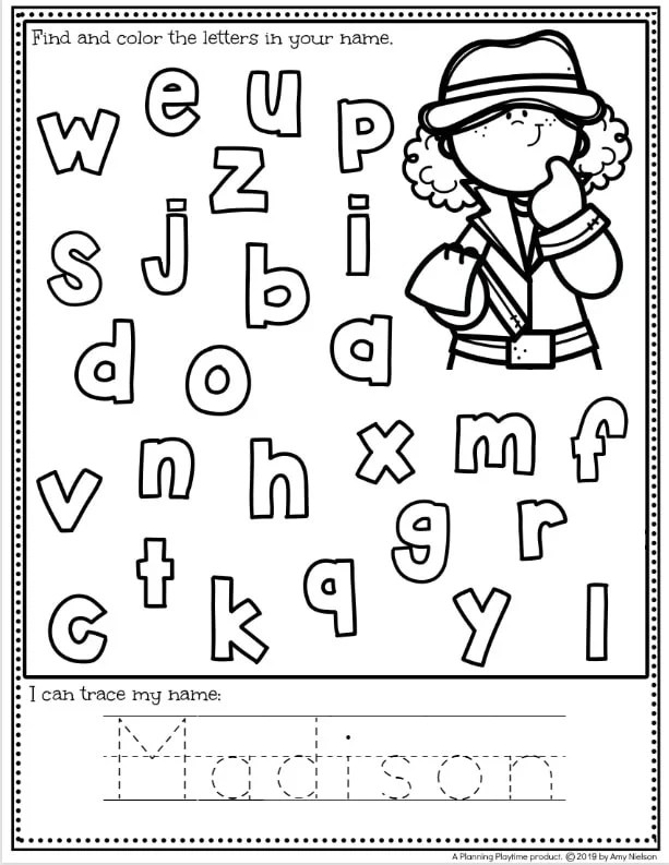 Fun Name Tracing Worksheets for Preschool - Editable for the whole class in under 5 minutes #preschoolworksheets #nameworksheets #preschoolprintables #nametracing #backtoschool #planningplaytime