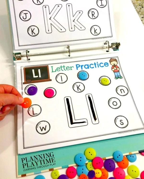 Alphabet Activities for Preschool and Kindergarten - Fun Interactive Binder #alphabetworksheets #preschoolworksheets #planningplaytime