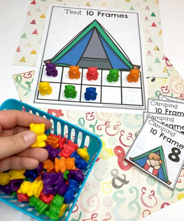 Counting Activities for preschool camping theme - 10 Frames #preschoolactivities #preschoolprintables #campingtheme #planningplaytime