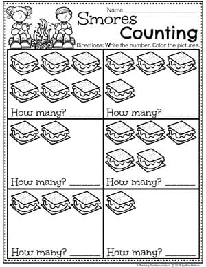 Counting Worksheets for Preschool Camping Theme #preschoolactivities #preschoolprintables #campingtheme #planningplaytime #preschoolworksheets