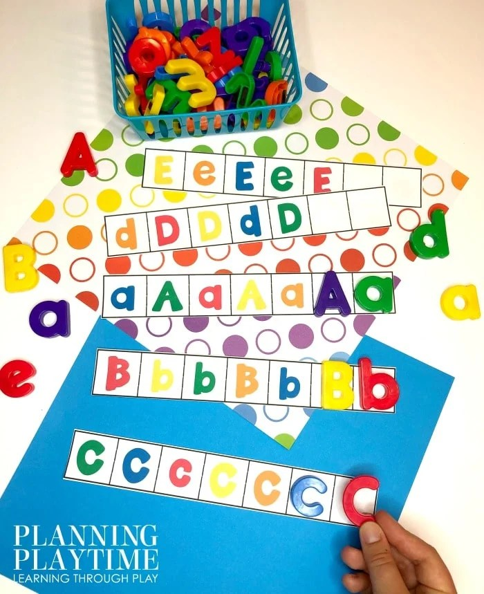 Letter Recognition Activities for preschool or kindergarten - Letter patterns #lettertracing #letterworksheets #alphabetworksheets #preschoolworksheets #preschoolactivities #alphabetactivities #planningplaytime