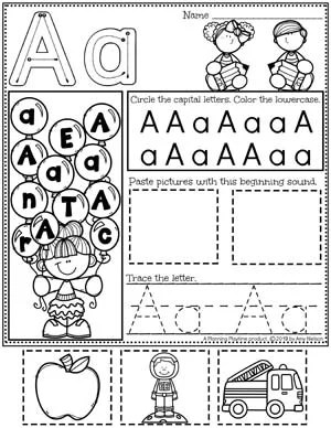 Alphabet Worksheets - A - Letter Tracing Worksheets and activities #preschoolworksheets #preschoolprintables #alphabetworksheets #planningplaytime