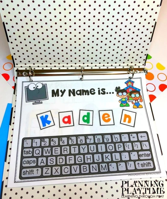 printable in a binder - keyboard for kids to pretend type name and name spelling squares.