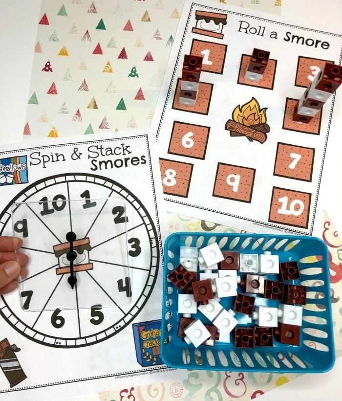 Preschool Counting Activity - Spin, Count and Stack Smores #preschoolactivities #preschoolprintables #campingtheme #planningplaytime