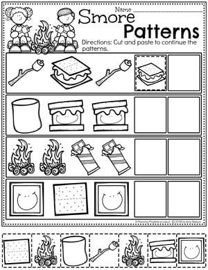 Preschool Patterns Worksheets for Preschool - Cut Paste and Color Patterns #preschoolactivities #preschoolprintables #campingtheme #planningplaytime #preschoolworksheets
