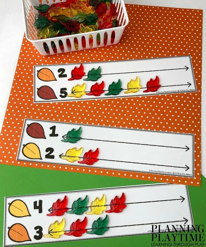 Preschool Counting Mats for Fall - Comparing Numbers Leaves