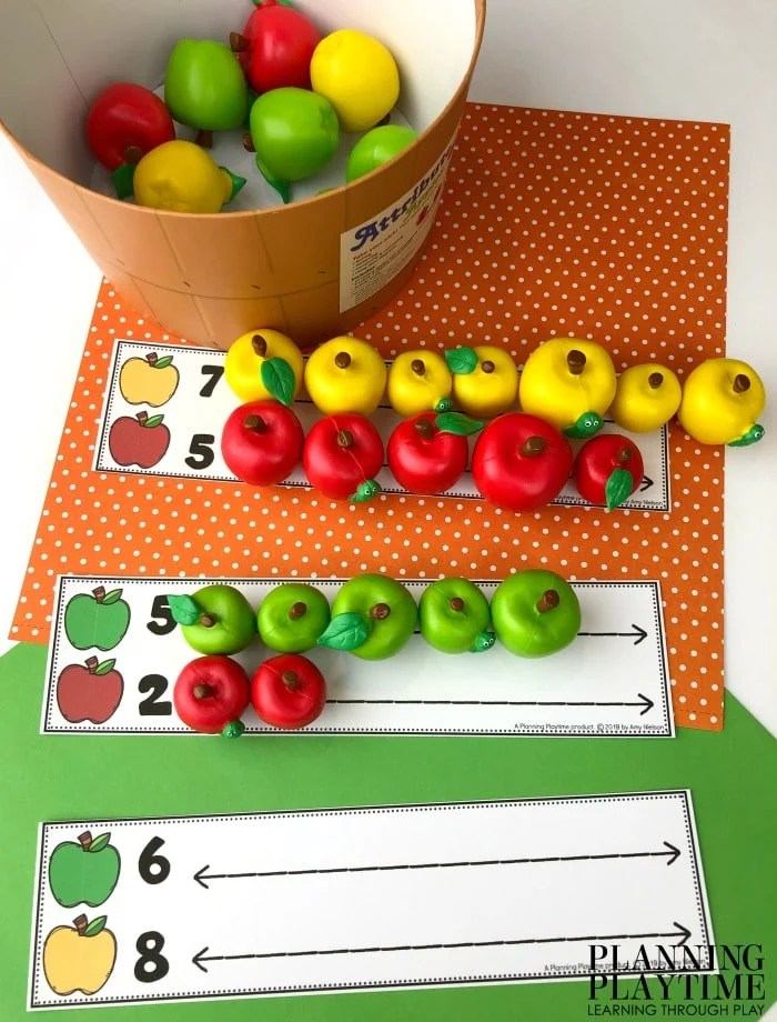 Preschool Math Mats - Count and Compare Apples