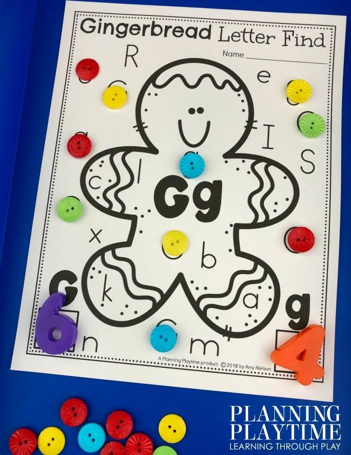 Gingerbread Man Alphabet Activities for preschool. Cute Preschool alphabet fun for winter.