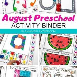 Preschool Activities Binder - August