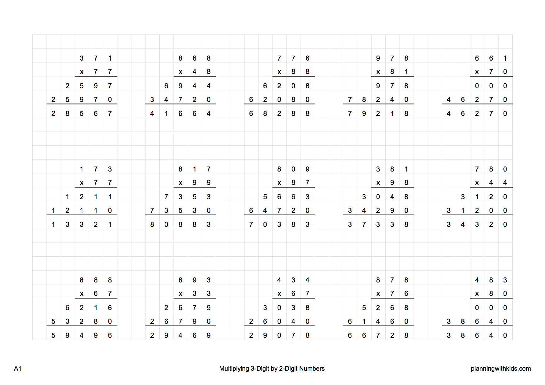 Long Multiplication A1 Worksheet