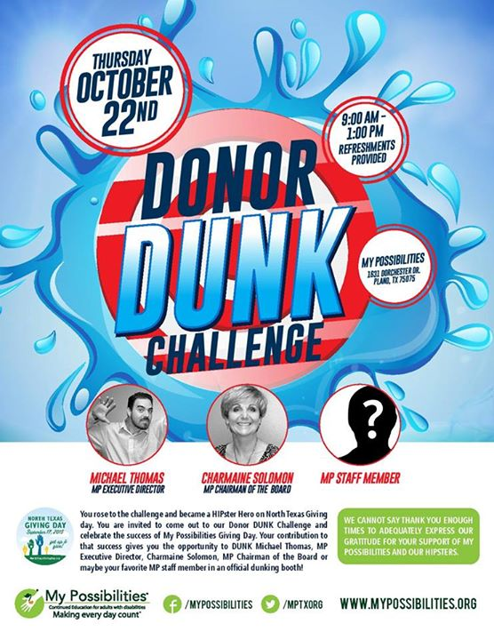 Donor Dunk Challenge My Possibilities Plano Texas