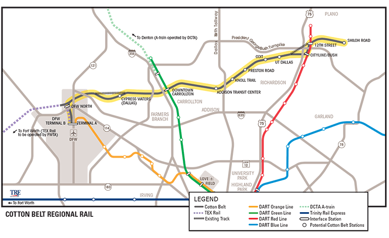 Cotton Belt Line, DART, downtown Plano, DFW airport