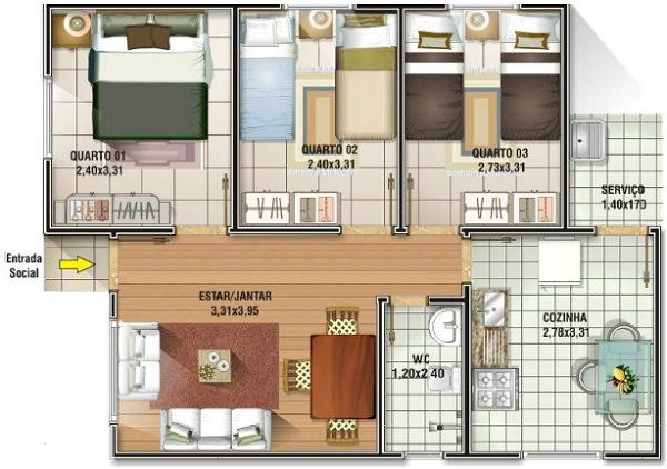 planos de casas 3 dormitorios14