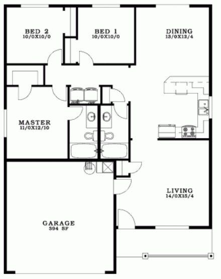 19 planos de casas 3 dormitorios planos y fachadas for Planos de casas de 2 dormitorios