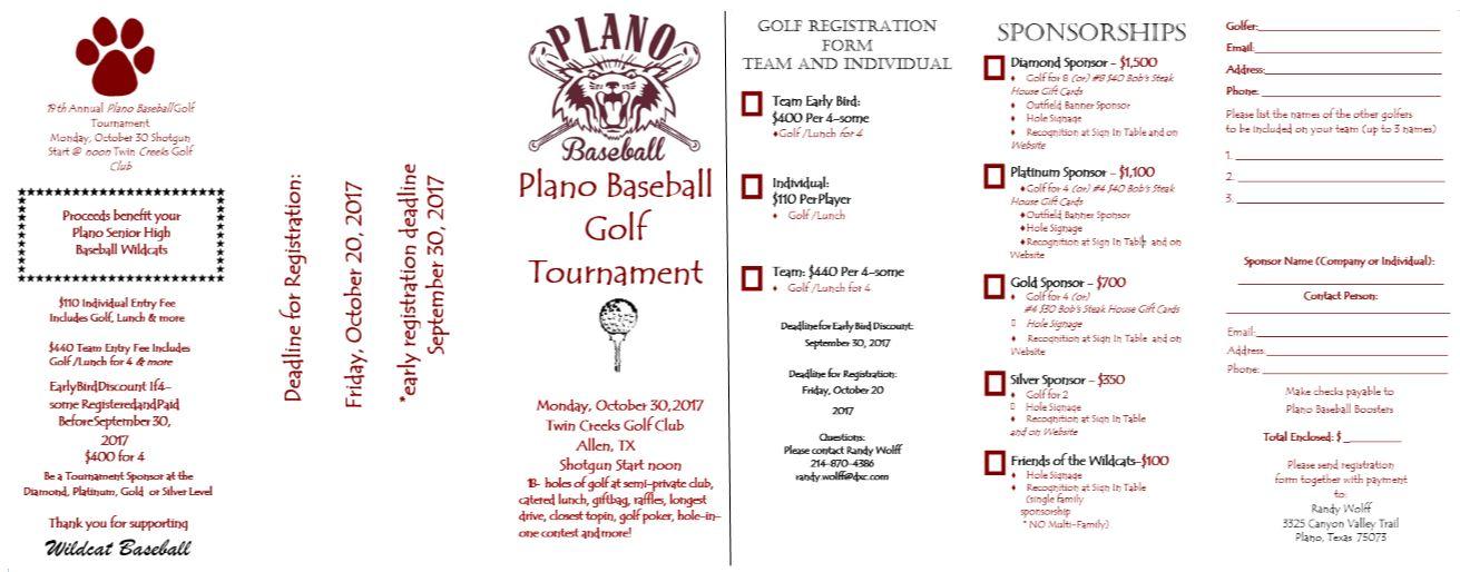 golf tournament plano wildcats baseball