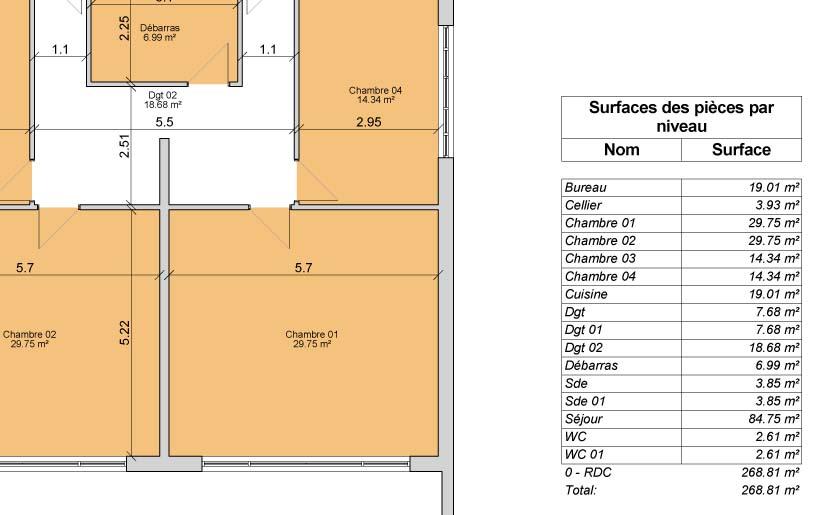 Elegant surface habitable et surface shon dbat with plan for Plan maison 300m2