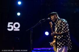 JUILLET | Montreux Jazz fête son 50e anniversaire. Parmi les artistes, des amis et habitués, comme ici le bluesman Buddy Guy ou le trio ZZ Top. Photo: © 2016 FFJM Lionel Flusin. LIRE L'ARTICLE: https://planscultes.ch/2016/07/05/jaimerais-que-ce-festival-sappelle-le-claude-nobs-montreux-blues-festival/