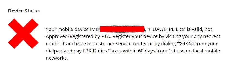 PTA mobile phone blocked