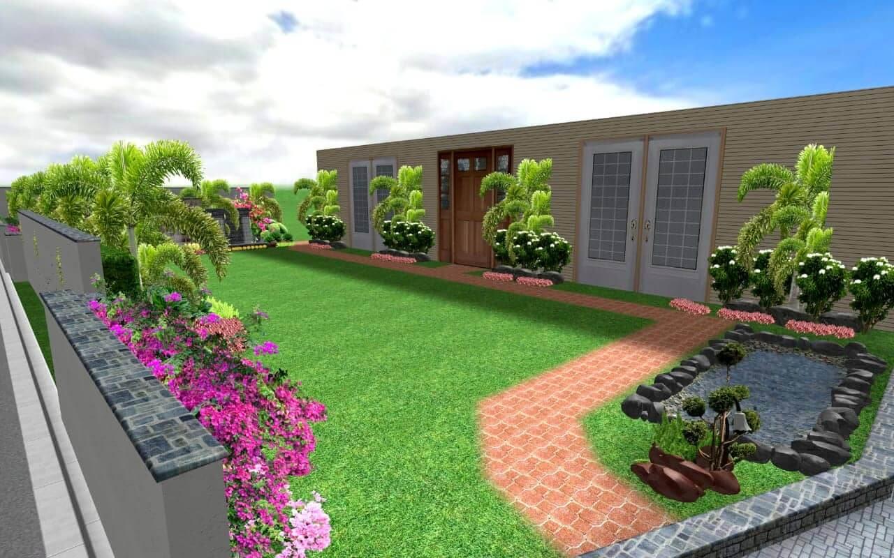 HOUSE LANDSCAPING DESIGN 05 - PER SQUARE FEET - Plant.Pk
