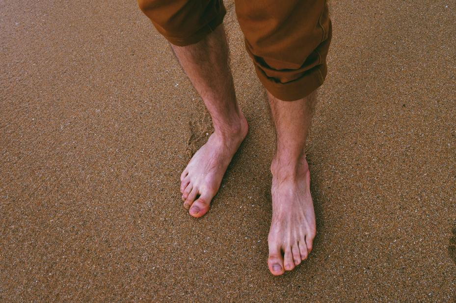 Bare feet walk for plantar fasciitis great exercise