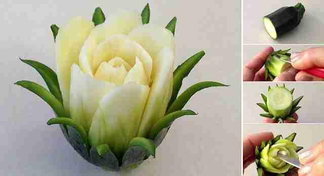 {Video} Increíble flor de cactus creada con un Zucchini 1