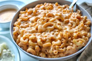 Creamy, smoky mac and cheese in a gray bowl