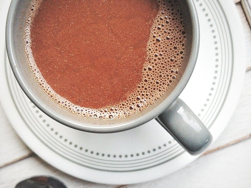 Mug filled with homemade, vegan chocolate milk or hot cocoa