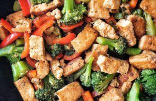 Vegan teriyaki chicken stir fry with plant-based ingredients