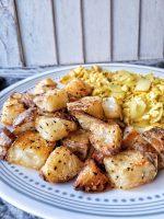 Crispy roasted potatoes seasoned with salt and black pepper