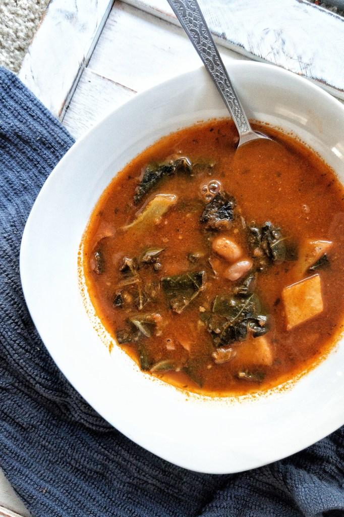Pinnable Pinterest image of Collard Greens Vegetable Tomato Soup