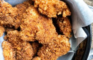 Crispy, breaded oven-baked tofu nuggets coated with panko breadcrumbs