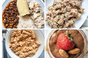 Collage with first plate of beans, rice, potato salad, and corn. Second plate with creamy potato salad on a platter. Third plate with cashew-based mac and cheese. Fourth is a canning jar filled with chia seed chocolate pudding topped with almonds and a strawberry