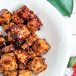 Tempeh stir-fry with honey garlic sauce in a bowl