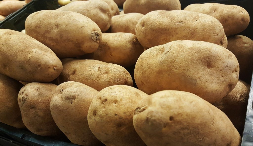 Close up to raw, russet potatoes