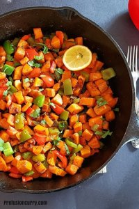 Savory sweet potato hash in a skillet