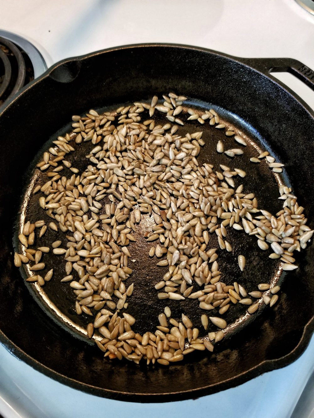 Sunflower seeds in a cast-iron skillet