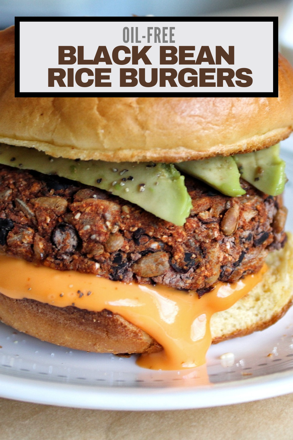 Oil-free black bean rice burgers.