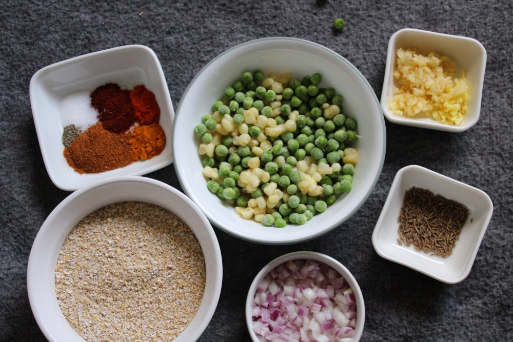 Ingredients for Indian-style savory oatmeal
