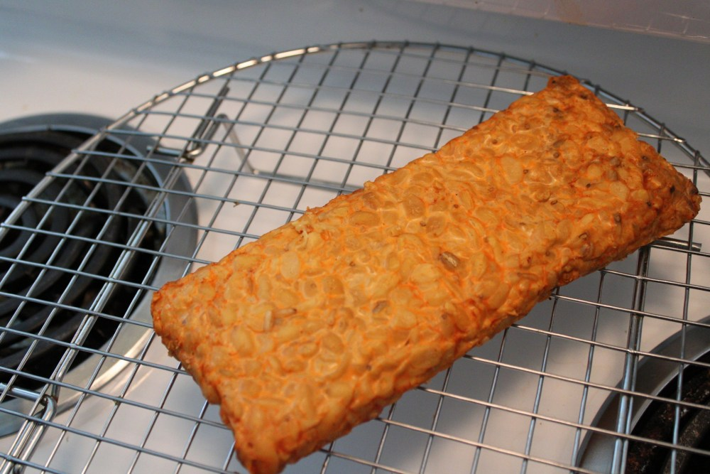 Steamed tempeh on a cooling rack