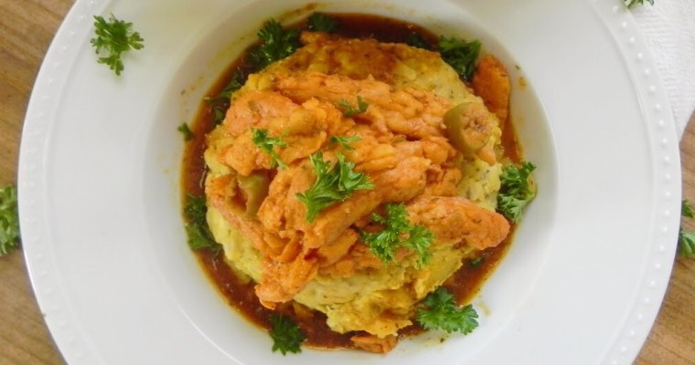 Vegan Mofongo with Stewed Chick'n
