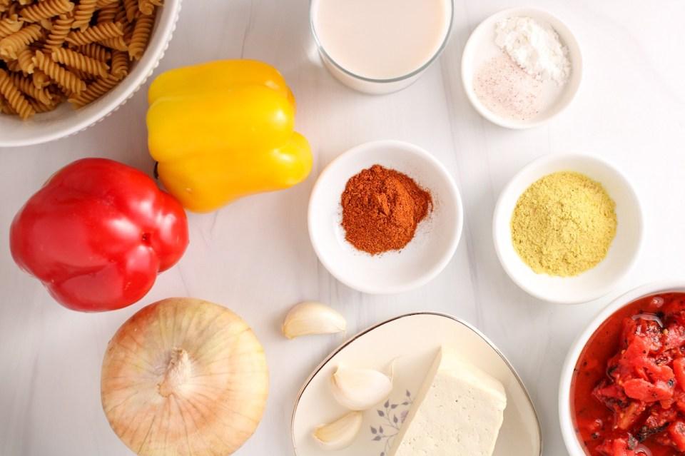 Ingredients needed to prepare this vegan cajun pasta dish